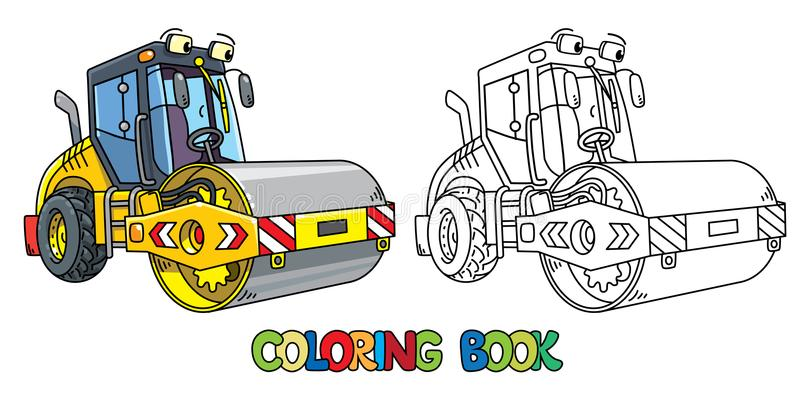 Funny asphalt compactor car with eye coloring book. Asphalt compactor coloring book for kids. Small funny vector cute car with eyes and mouth. Children vector stock illustration