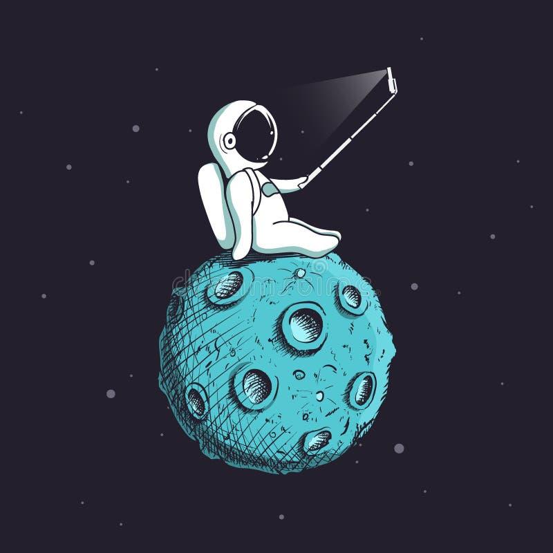 Funny astronaut make selfie on Moon vector illustration