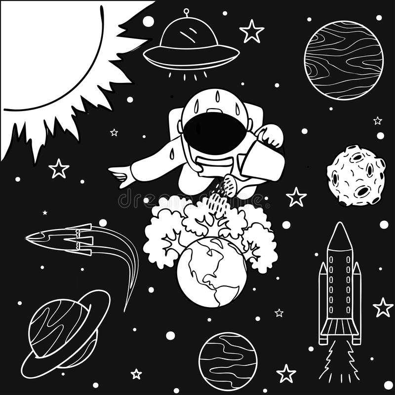 Funny astronaut watering the trees he has grown on earth to save the world, for design element and coloring book page for kids and stock illustration
