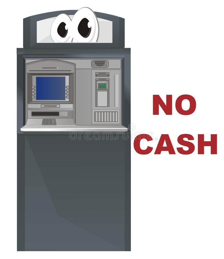 Funny ATM and red words stock illustration