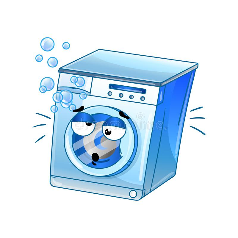 Funny automatic washer cartoon character. Household appliance with emotional face, home electronic device comic mascot vector illustration vector illustration