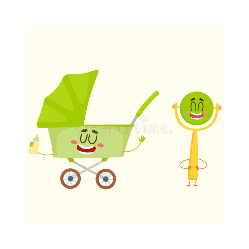 Funny baby cart, stroller, buggy and rattle character, newborn accessories vector illustration