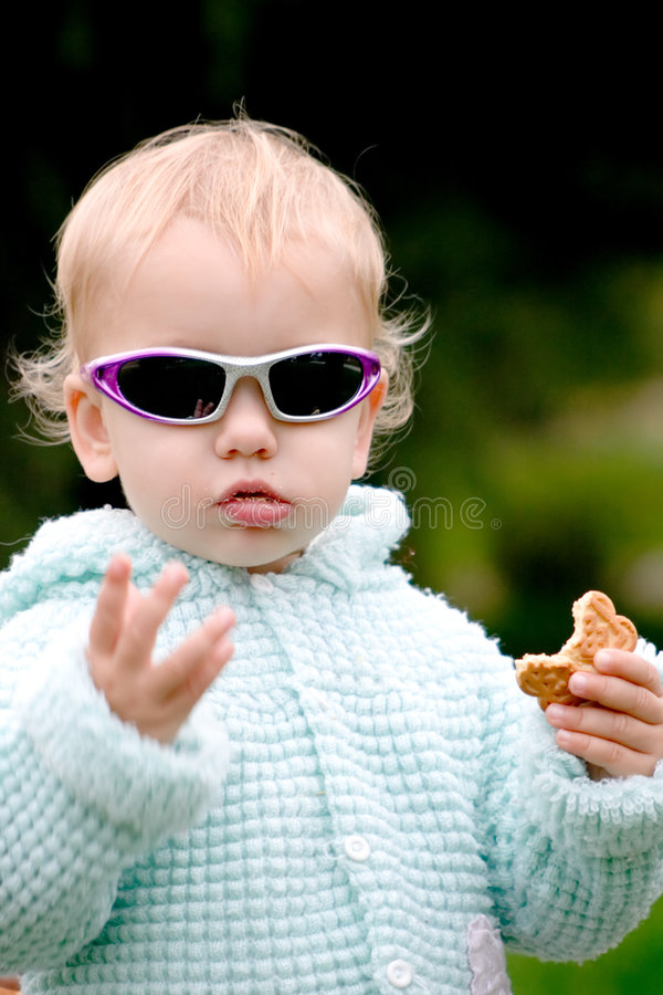 Funny baby with cookies royalty free stock images