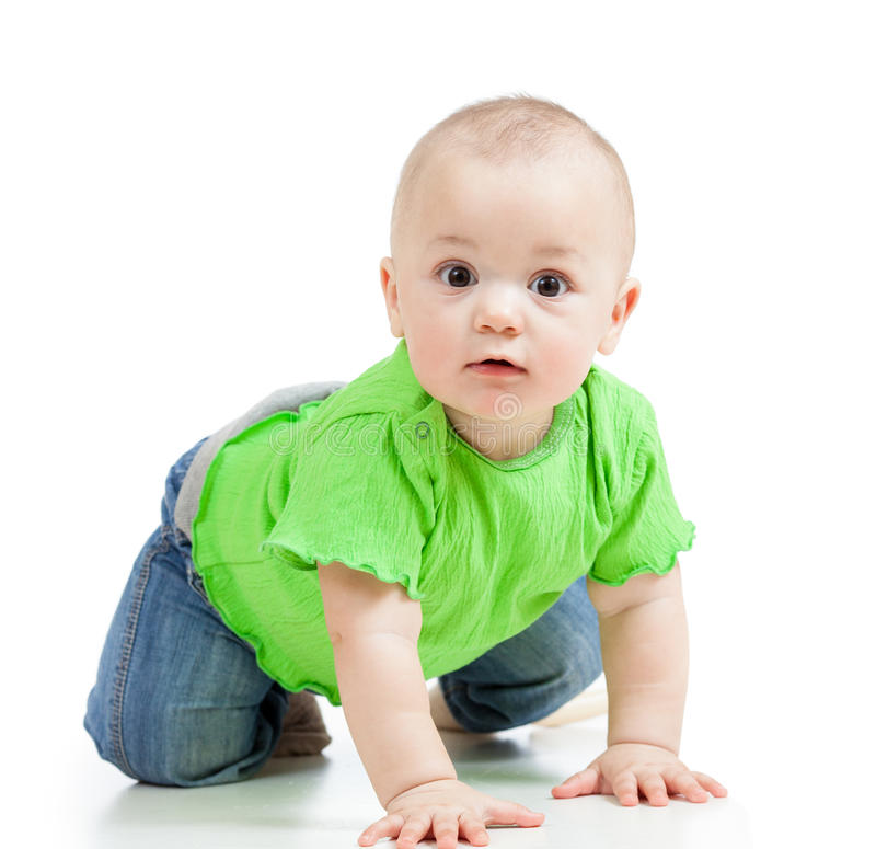 Funny baby crawling. Funny baby infant crawling on floor stock image
