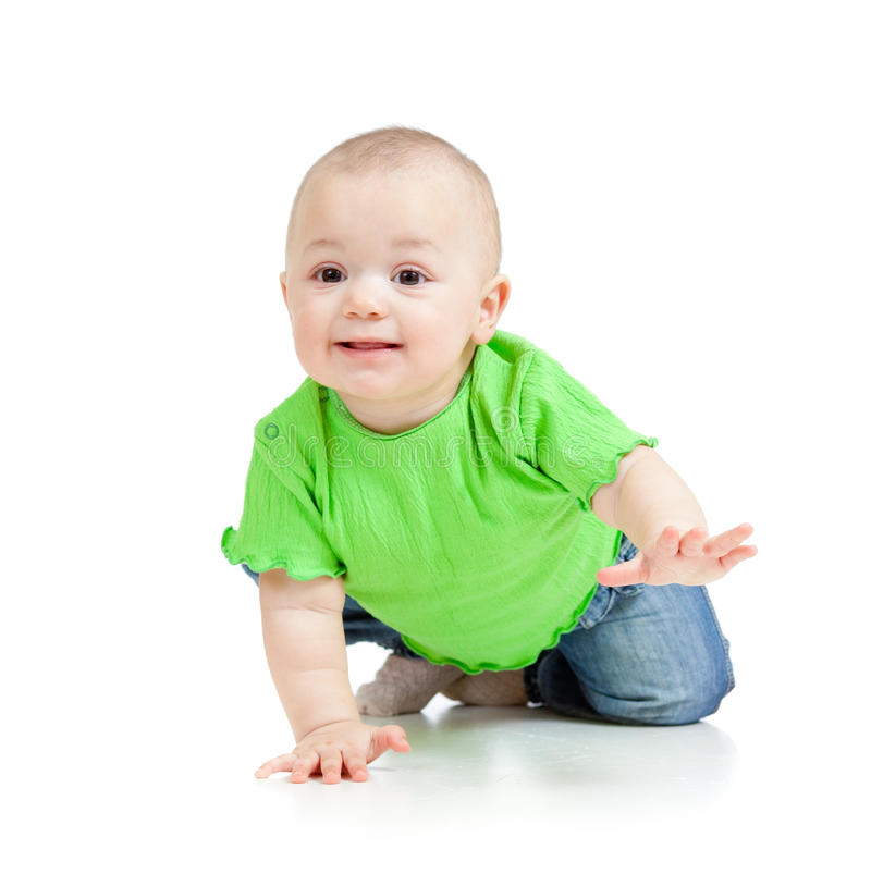 Funny baby crawling. Funny smiling baby crawling over white background royalty free stock photography