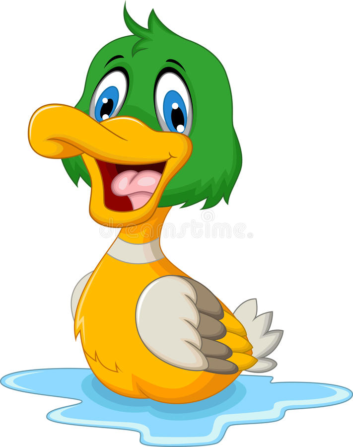 Funny baby duck cartoon royalty free illustration