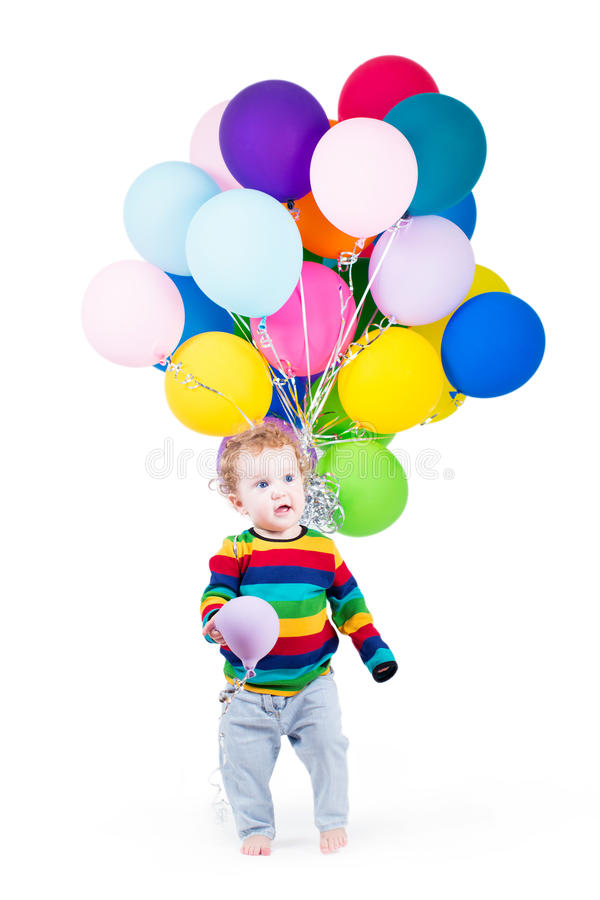 Download Funny Baby Playing With Colorful Balloons Stock Image - Image: 41481485