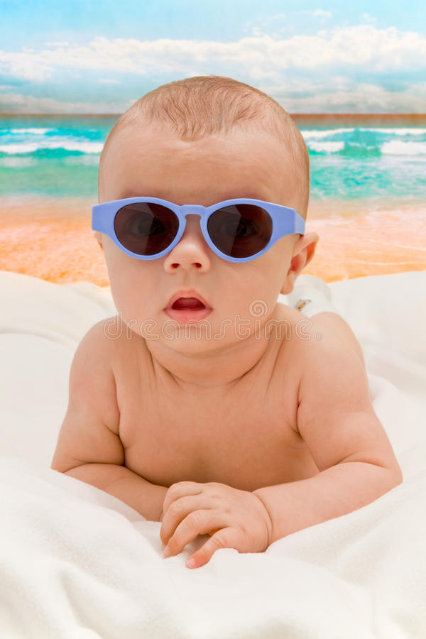 Download Funny Baby In Sunglasses On The Beach Stock Image - Image: 21623061