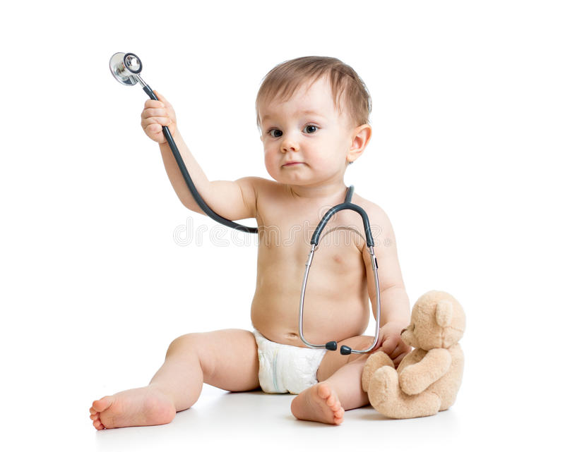 Funny baby weared diaper with stethoscope royalty free stock photos