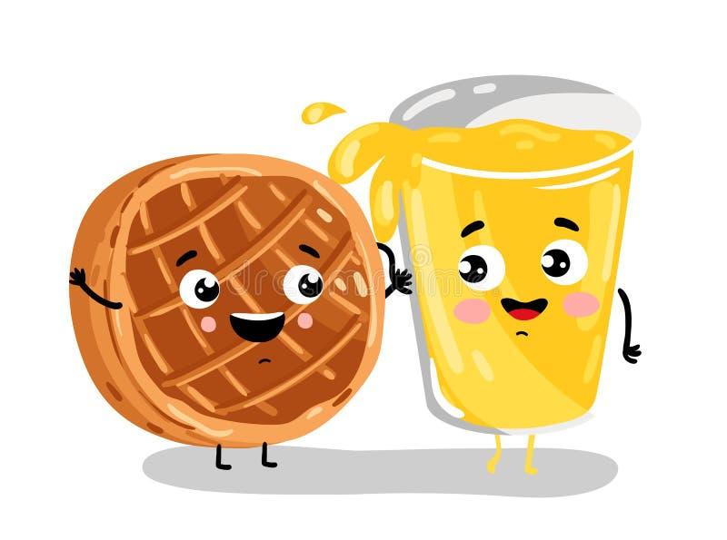 Funny baked pie and lemonade cartoon characters. Cute baked pie and lemonade cartoon characters isolated on white background illustration. Funny fast food menu stock illustration
