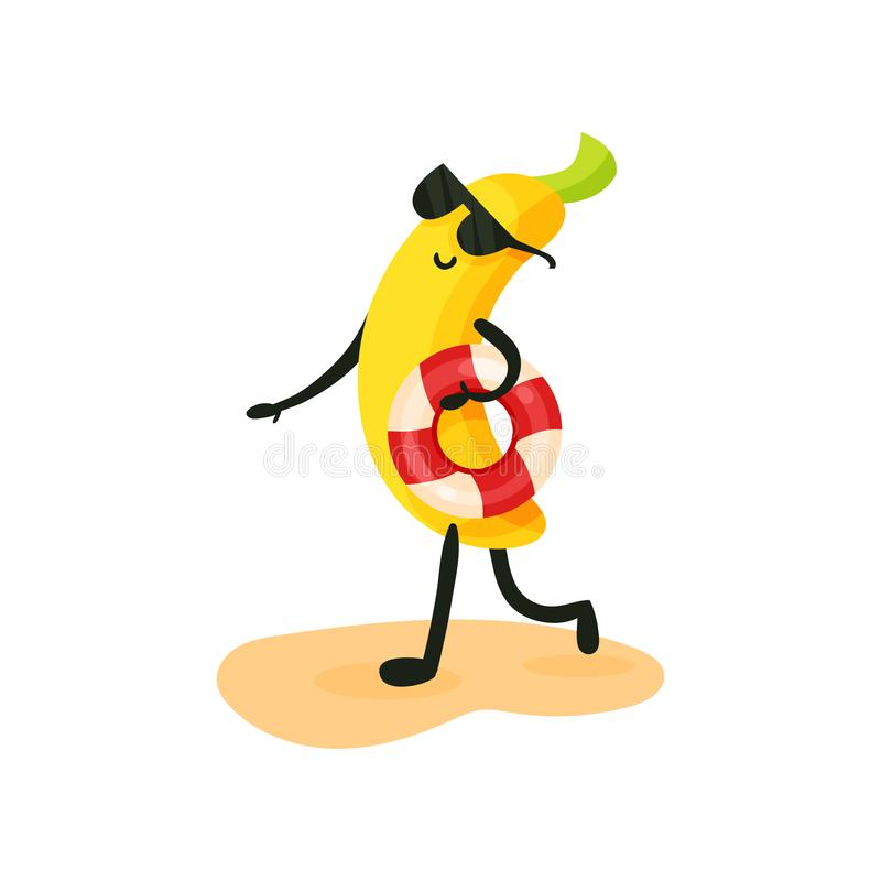 Funny banana in sunglasses walking on the beach with lifebuoy, tropical humanized fruit character spending time on the royalty free illustration