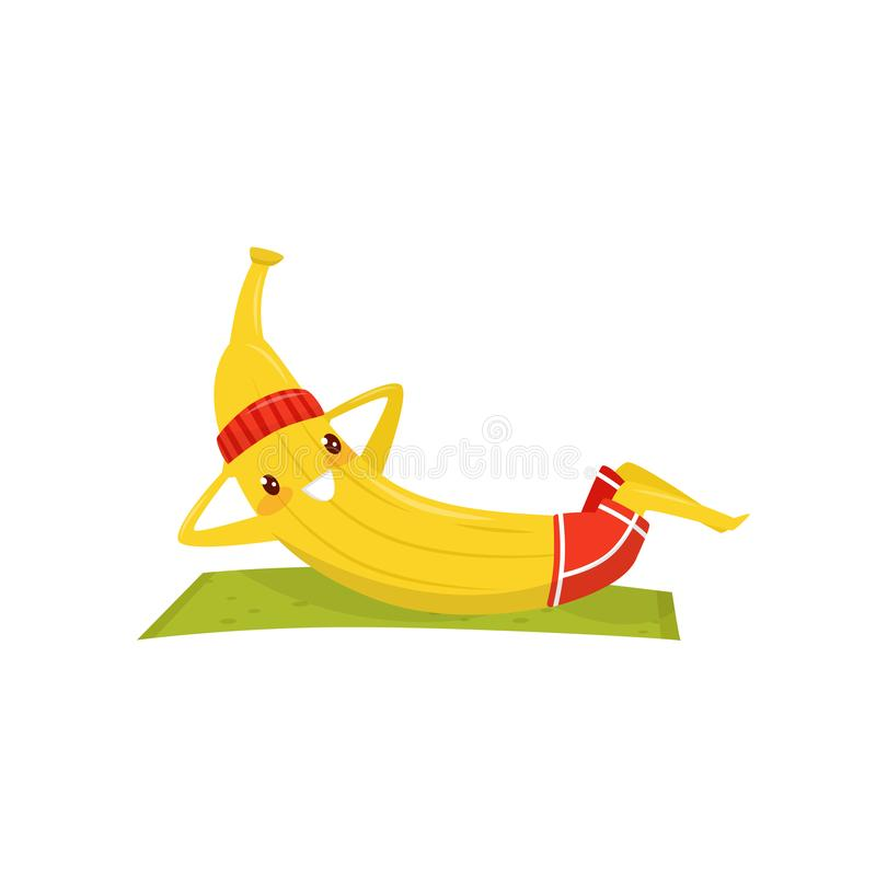 Funny banana working out on an exercise mat, sportive fruit cartoon character doing fitness exercise vector Illustration. Isolated on a white background stock illustration