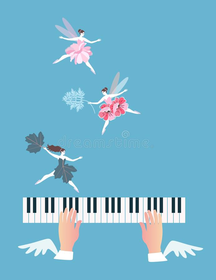 Funny banner with leaves, flowers and winged fairies, dancing over the piano keys. Conceptual vector illustration vector illustration