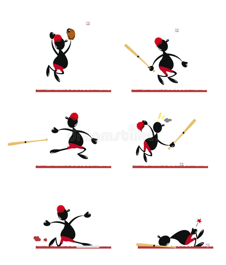 Download Funny Baseball Player stock vector. Image of jumping - 27184946