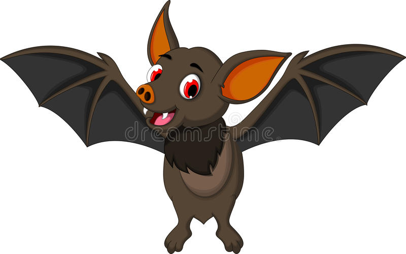 Funny bat cartoon posing stand. Illustration of funny bat cartoon posing stand vector illustration