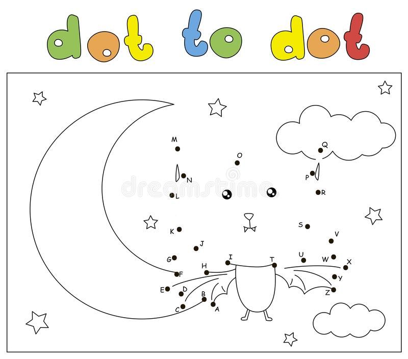 Funny bat in the night sky with the Moon and stars. Coloring book and dot to dot game for kids. Funny bat in the night sky with the Moon and stars. Coloring book vector illustration