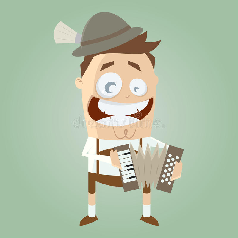 Funny bavarian accordion player stock illustration