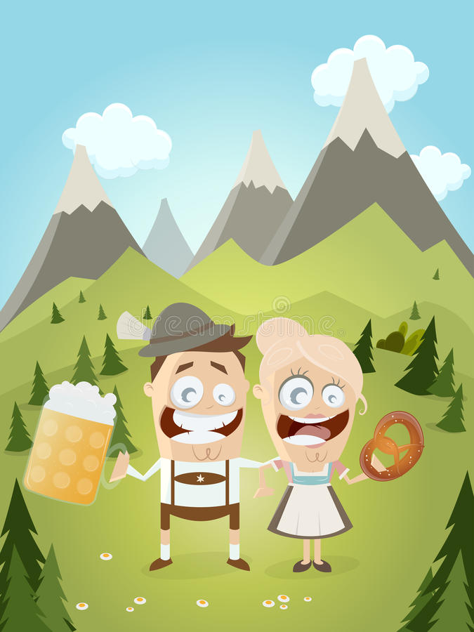 Funny Bavarian couple with beer and pretzel. Illustration of a funny Bavarian couple with beer and pretzel vector illustration