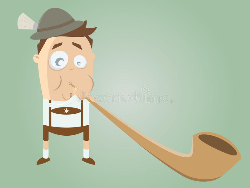 Funny bavarian man with traditional alphorn. Illustration of a funny bavarian man with traditional alphorn royalty free illustration