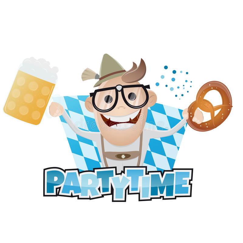 Funny bavarian party man. Illustration of a funny bavarian party man royalty free illustration