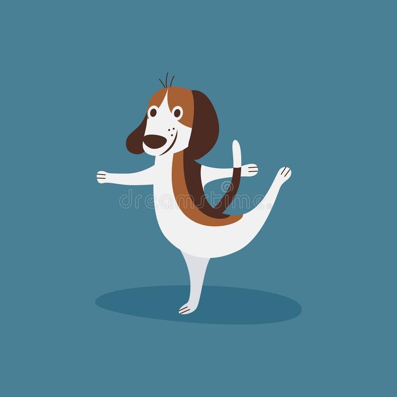Funny beagle doing ballet, happy dancing puppy dog doing a ballerina pose. Isolated on blue background, cute cartoon animal - flat hand drawn vector vector illustration