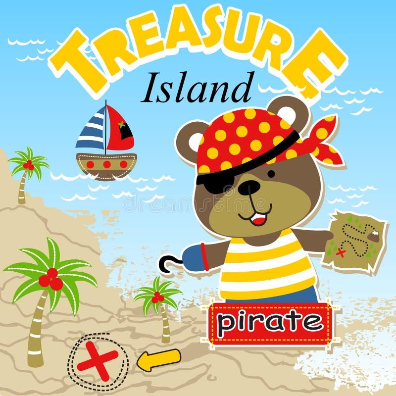 Funny bear cartoon the pirate vector illustration