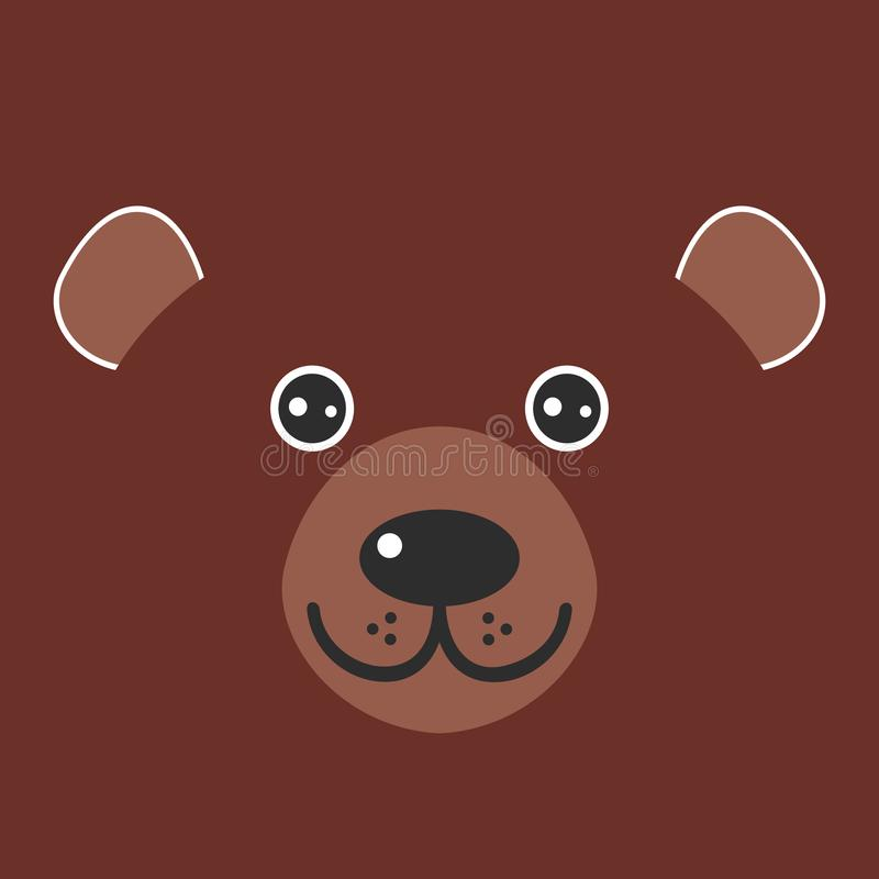 Funny bear face on brown background. Vector stock illustration