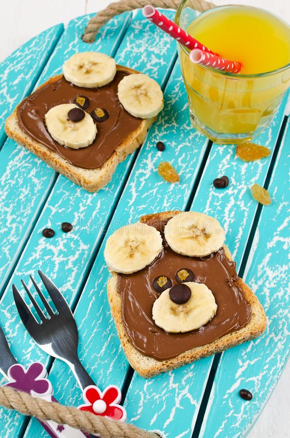 Funny bear face sandwich for kids snack food. Creative breakfast idea for kids royalty free stock photography