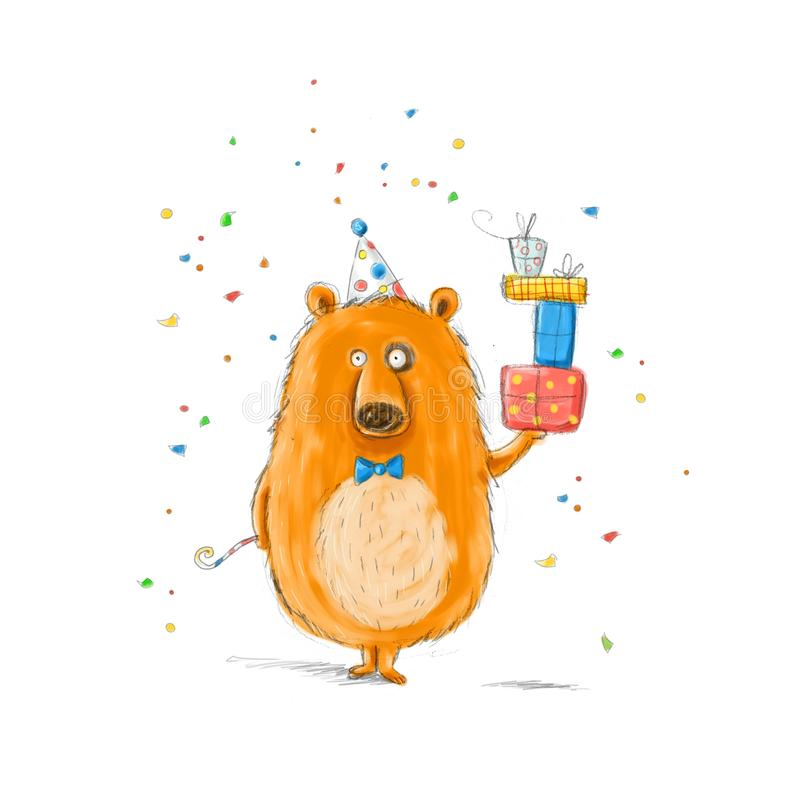 Funny bear with the gifts.Childish illustration. Hand drawn bear.Happy birthday.Party invitation. Funny bear with the gifts.Childish illustration. Hand drawn vector illustration