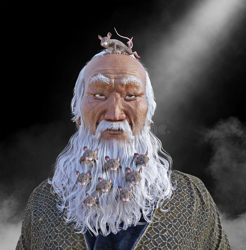 Funny Beard Crowded with Mice. An old Asian man with a long white beard has mice living in his beard. the male has a big grin on his face for the mouse on top of