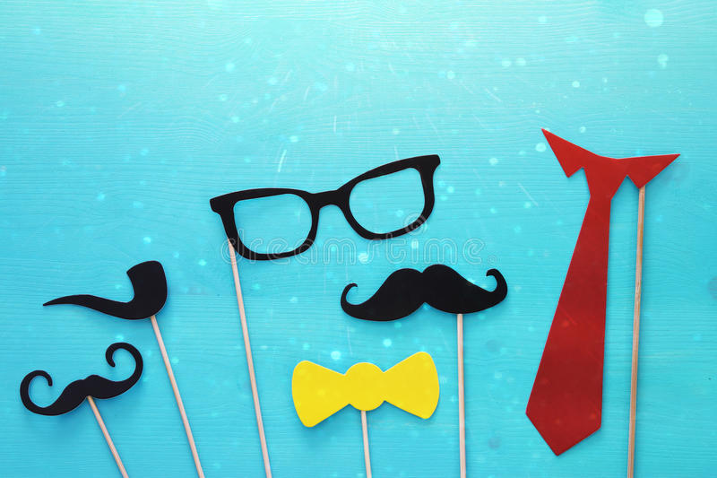 funny beard, glasses, mustache, tie and bow. Father& x27;s day concept royalty free stock photos