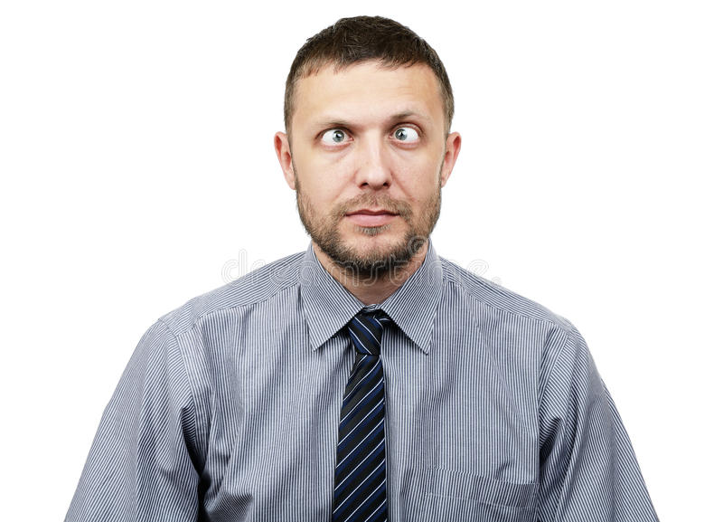Funny bearded businessman makes funny eyes royalty free stock photos