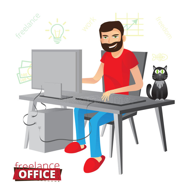 Funny bearded freelancer working at home on the computer in red vector illustration