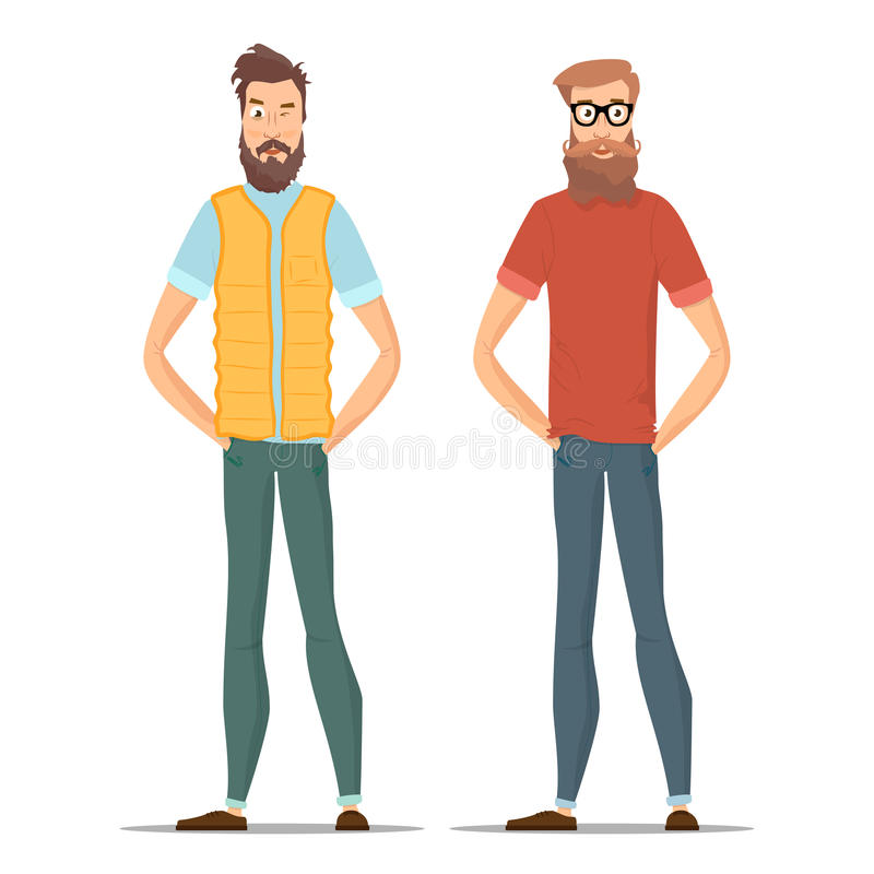 Funny bearded hipsters isolated on white. Character young people in different casual clothes. Vector illustration with. Male set eps10 stock illustration