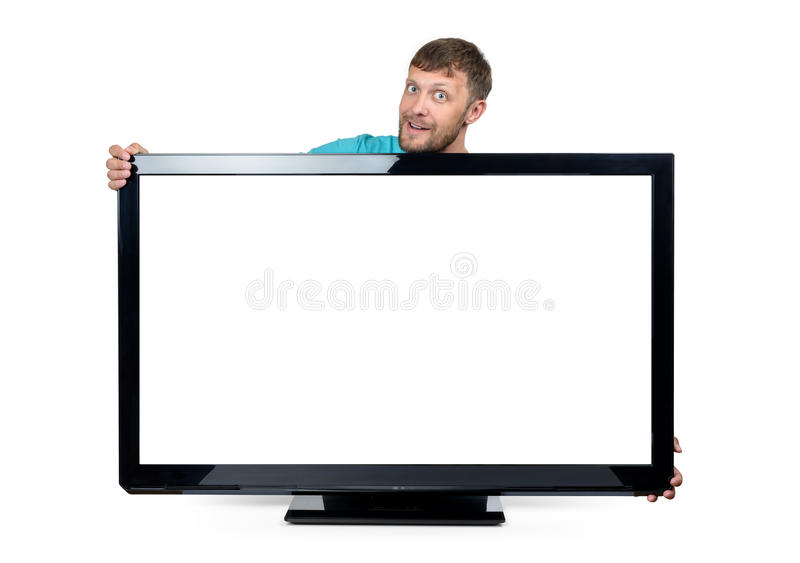 Funny bearded man wrapped his arms around the wide TV set on white background. File contains a path to isolation. royalty free stock photography