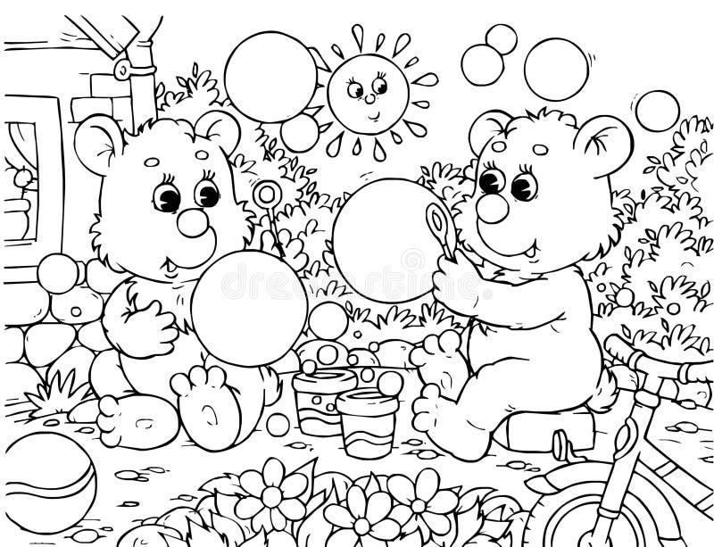 Funny Bears Blow Bubbles Royalty Free Stock Photo