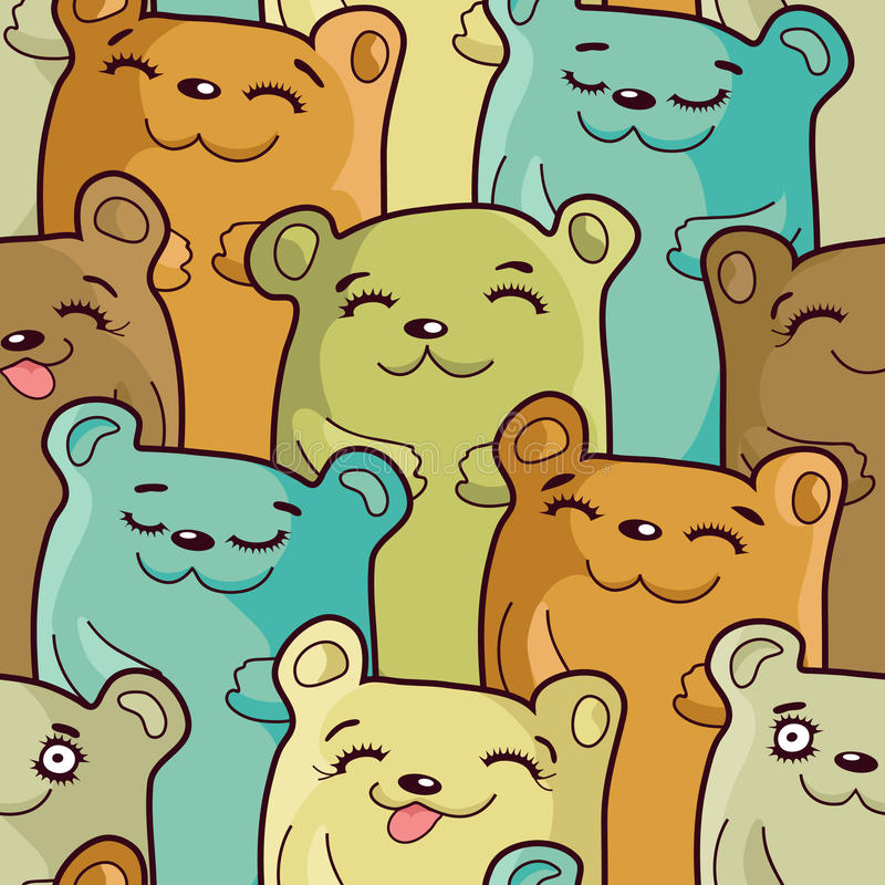 Funny bears - seamless pattern royalty free stock photos