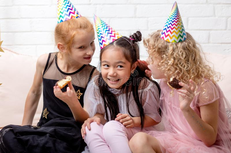 Funny beautiful little girls in positive mood royalty free stock photos
