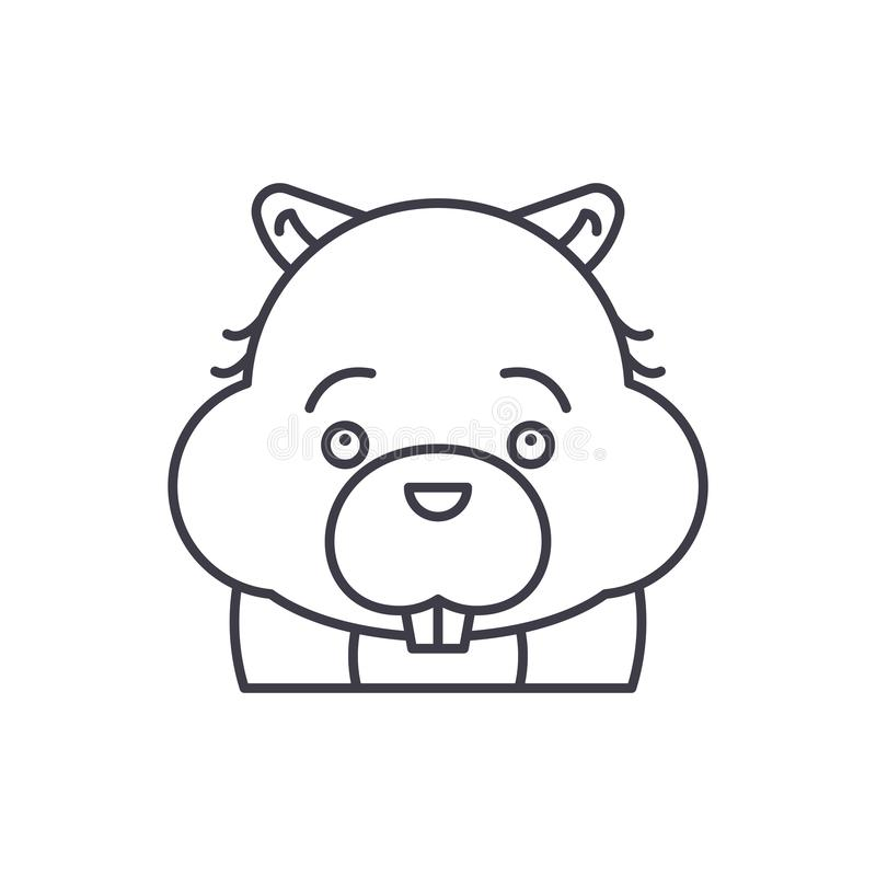 Funny beaver line icon concept. Funny beaver vector linear illustration, symbol, sign royalty free illustration