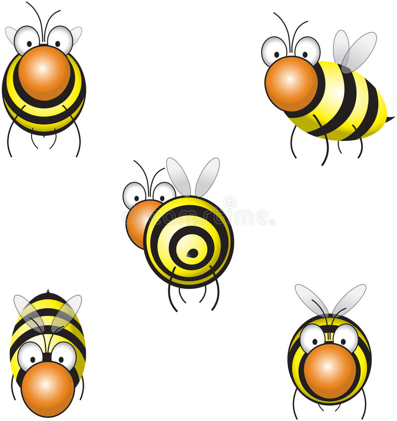 Funny bee. Flying in different positions vector illustration