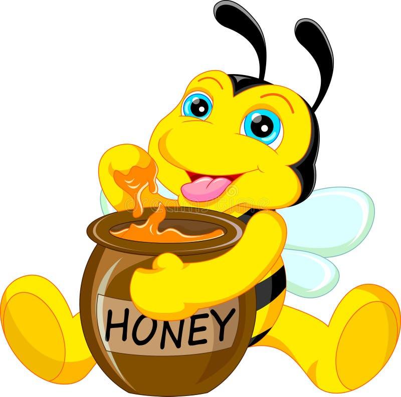Funny Bee Cartoon With Honey Stock Vector - Image: 49394054