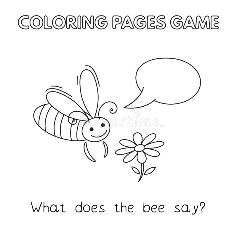 Cartoon Bee Coloring Book vector illustration