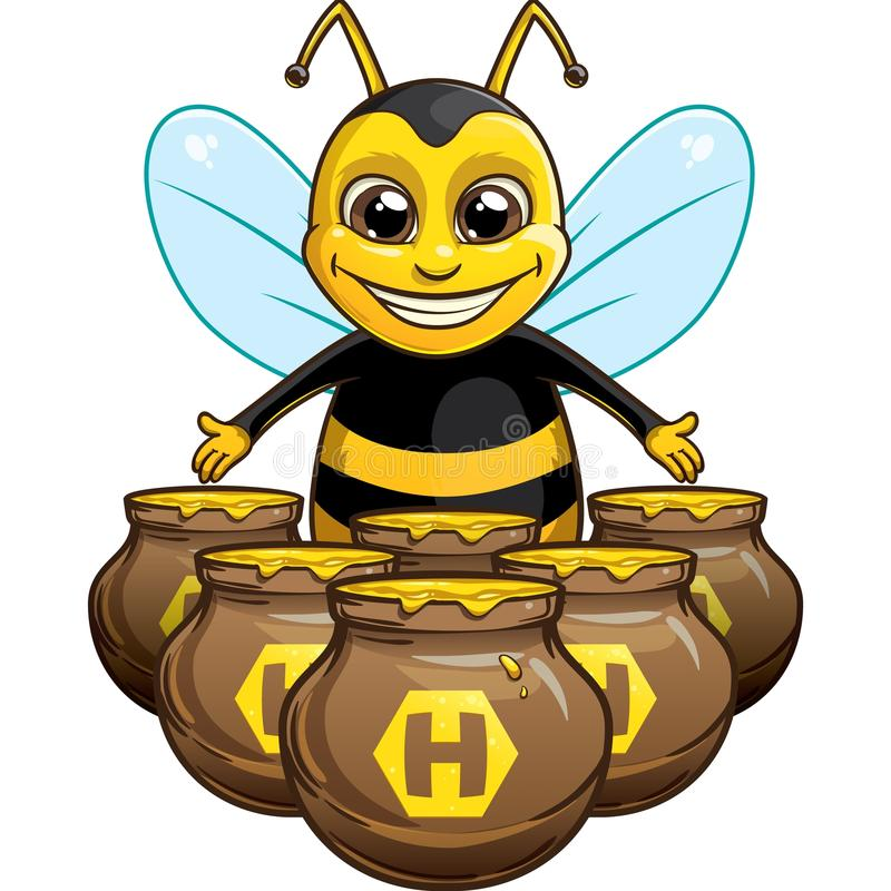 Funny bee with pot of honey royalty free stock photography
