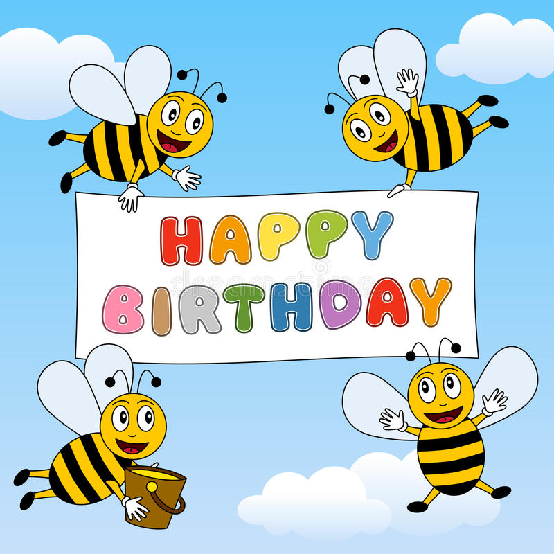 Funny Bees Happy Birthday vector illustration