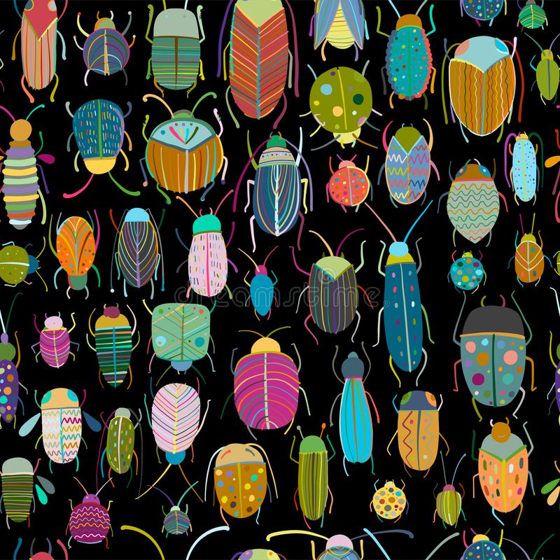 Funny beetles collection, seamless pattern for your design. Vector illustration vector illustration