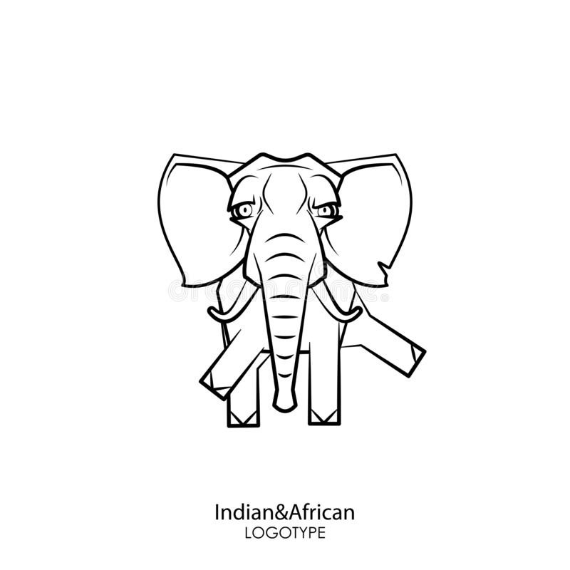 Funny big elephant. Cartoon animal character. Funny clever big elephant with tusks standing posing on a white background. Vector illustration. Indian and African royalty free illustration