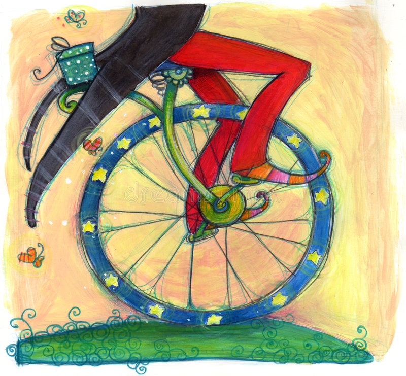 Funny biker. A funny biker on a funny bike! Hand illustration: oil, pastels royalty free illustration