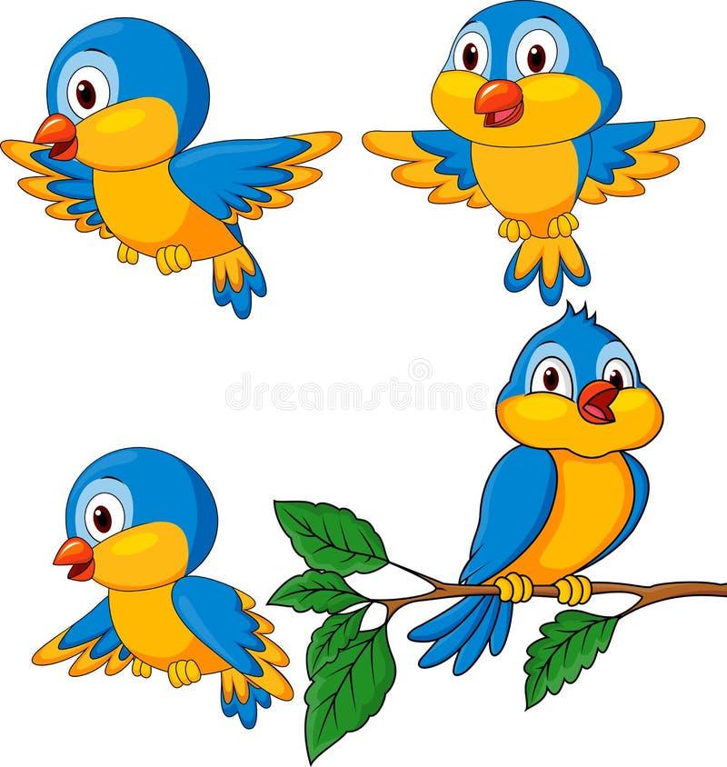 Funny bird cartoon set stock illustration