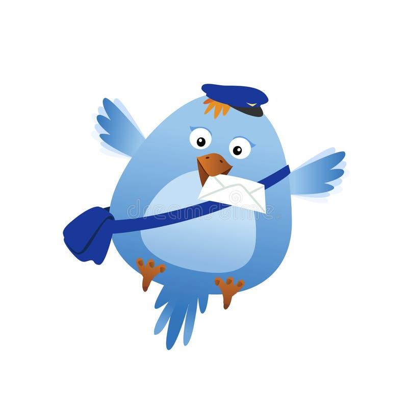 Funny bird with mail stock photos