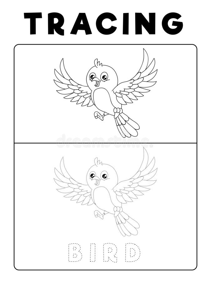 Funny Bird Tracing Book with Example. Preschool worksheet for practicing fine motor skill. Vector Animal Cartoon Illustration for royalty free illustration